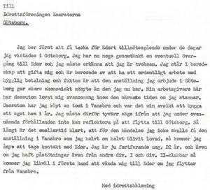 Tores brev till IFK Göteborg, daterat till den 26 augusti 1959.