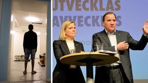 Nils skriver att Socialdemokraterna drar allt mer åt höger och tar upp jakt på ensamkommande barn, tiggeriförbud och försämringar av LSS som exempel. Bilder: Jessica Gow/TT / Lars Larsson/TT