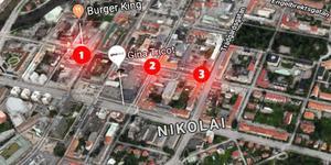 1) Burger King 2) Utanför Fratellis och 3) Nygatan nära Trädgårdsgatan  - här skedde nattens tre våldsbrott i Örebro. Karta: Google/NA.