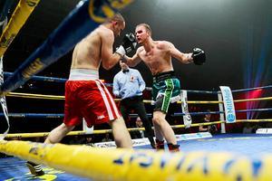 Rocco Wadell, till höger, under sin match mot Petr Chmelik i Sporthallen i Sundsvall förra året.