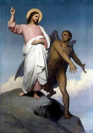 Jesus frestas av djävulen under sin ökenvandring. Målning av Målning av Ary Scheffer från 1854.