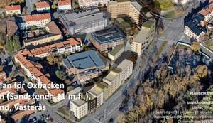 Nya Oxbackens centrum sett från ovan. Bild: Västerås stad