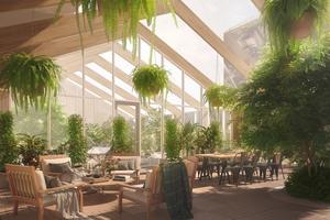 Tropikerna? Nej, ett 450 kvadratmeter stort växthus, eller orangeri, för de boende i Index Residence tredje husprojekt i Norrtälje Hamn; Orangeriet. Illustration: Index Residence
