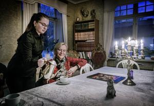 Sanni Schalander vid den gamla entrén som numera är bibliotek. Utanför finns herrgårdens gamla kök från 1637. Under marken går en murad tunnel mellan byggnaderna. Det upptäcktes nyligen vid renoveringen av köket. Ida Andersson serverar kaffe.