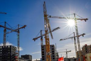 Det byggs flitigt i de största städerna i Sverige, som på bilden Hagastaden i Stockholm. Södertälje är dock på stark frammarsch om man tittar på antal byggprojekt som startats under senaste året.
