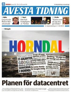 Avesta Tidning 8 januari 2020, när Googles plan om att bygga fem serverhallar på orten avslöjades.