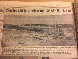 Den 29 september 1966 rapporterar LT från den enorma byggarbetsplatsen i Södertälje Södra där man just höll på att klä väggarna i tegel.