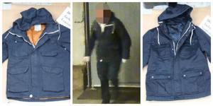 Jackan till vänster dumpades på Lovisinsgatan, den till höger hävdar 38-åringen att han bär på bilden. Det håller inte NFC med om.