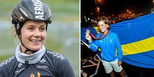 Emma Johansson hjälper till på läger för unga tjejer. Till vänster står hon med silvermedaljen från OS 2008 i Peking.