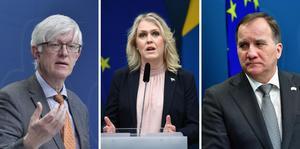 Folkhälsomyndighetens generaldirektör Johan Carlson, socialminister Lena Hallengren och  statsminister Stefan Löfven.