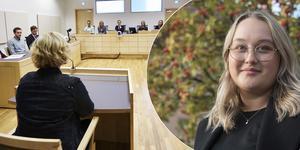 Annie Östlingsson är en av de 14 nynäshamnare som har fått ett nämndemannauppdrag i Södertörns tingsrätt. Foto: Patrik Svedberg (rättssalen); Kristina Laitinen (Annie Östlingsson)