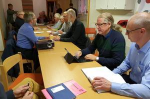 Mats Gunnarsson (MP), ordförande för samhällsbyggnadsnämnden Region Örebro län och Johan Ljung från Länstrafiken diskuterade busstrafik med kommunbygderådet i Lekeberg.Foto: Privat