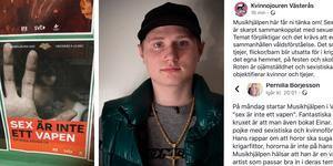 """Många tycker det rimmar illa att Musikhjälpen engagerat gangstarapparen Einár i år när temat är """"Sex är inte ett vapen"""" – så illa att flera säger att de inte längre vill stödja arrangemanget. Foto: Cecilia Vangbo och TT"""