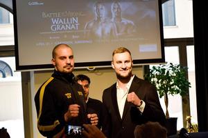 Adrian Granat och Otto Wallin vid presskonferensen på tisdagen.
