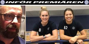 Nye tränaren Lars Stenmark och nordamerikanska duon Samantha Hanson och Emma Woods.