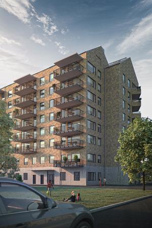 Huset Vitalen, i Vallby centrum, när det står färdigt sommaren 2021. Illustration: Archus Arkitekter