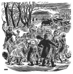 De litauiska bönderna lever under svåra förhållanden och behandlas illa av sina tyska herrar i Kristijonas Donelaitis