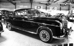 En klassisk Mercedes Benz 220 SE Coupé från 1960 fanns också med på veteranbilsutställningen 1987.