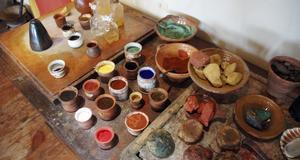 Konstnärernas färger på Rembrandthuis.