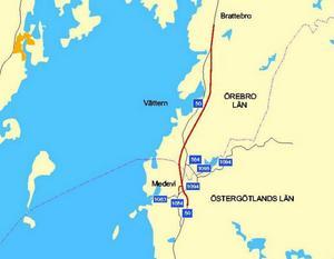 Det är den rödmarkerade sträckan av riksväg 50 som är i stort behov av ombyggnad. Större delen av sträckan ligger i Askersunds kommun.