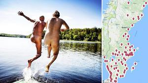 Naturistbad vid sjön Ramsen, Fjällnora, nära Uppsala. Vi har kikat in listan på alla Sveriges naken- och naturistbad och sammanställt en nakenbadskarta - se den här nedan.Bild: Annika af Klercker/TT