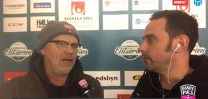 Bandypuls Peter Axman och Leo Hägglund i eftersnacket från Svenska Fönster Arena. Foto: Skärmdump