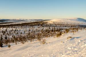 Området för cyklingen ligger i dalgången mellan Hovärken och Digervålen, som syns uppe till höger på bilden.