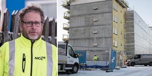 Byggarbetaren Johan Eriksson fick en 400 kilo tung valsform över sig i en arbetsplatsolycka. Bilden är ett montage.