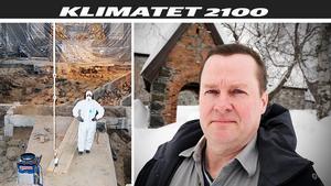 Arkeologen Ola George konstaterar att klimatförändringarna innebär ännu svårare påfrestning på kulturbyggnader och fornminnen. Bild: Privat och Anders Lidén