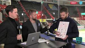 Ulf Lundberg ritar och förklarar delar av SSK:s uppspel.