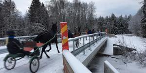 Riktiga hästkrafter travar över den nya bron över Draggån.