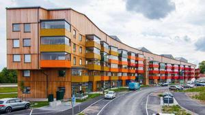 Nybyggt Mimer-hus på Nordanby äng.Bild: Per Groth