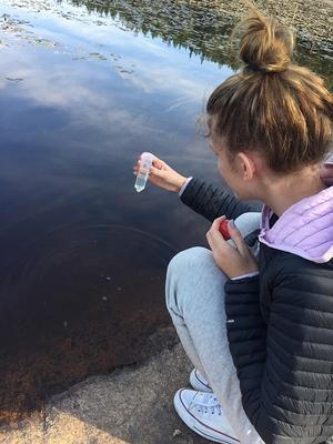 Matilda Redhe-Lind tar vattenprov . Foto: Stina Törnblom