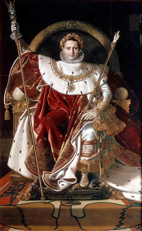 Napoleon Bonaparte på sin tron som kejsare 1806. Målning av Jean-Auguste-Dominique Ingres.
