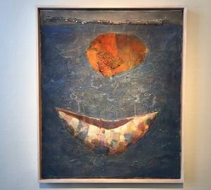 Båtarna återkommer i Lars Westermans målningar, här Kapsel.