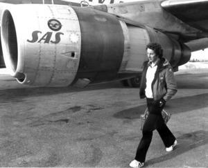 Sist ut till flyget på Frösön var Ingemar Stenmark, han lämnade länet som en segrare, vann säsongens sista storslalomtävling i Sierra Nevada och tog även hem den totala världscupen 1977. Foto: Sune Heidenbeck