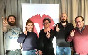 Vänsterpartiet Laxå. David Tverling, Clara Ericson, Gundega Hallinder, Jerry Karjalainen och Klas-Göran Vilgren.FOTO: PRIVAT