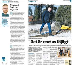 Faksimil. Artikel från 16 februari 2009 och ledare från 18 februari 2009.