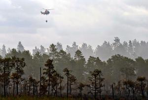 En helikopter släpper vatten över skogsbranden vid Öjesjön sommaren 2014.