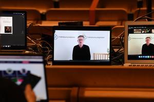 Statsepidemiolog Anders Tegnell är med via länk då Folkhälsomyndigheten, Socialstyrelsen och Myndigheten för samhällsskydd och beredskap ger samlad information om läget när det gäller covid-19. Arkivbild. Foto Fredrik Sandberg / TT