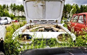 De flesta bilarna är från 80- och 90-talen men det finns ett och annat veteranåk bland skrotade bilarna.