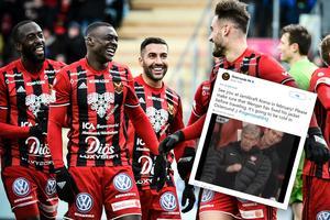 Östersund skickade en pik till Arsenal på Twitter efter måndagens lottning. Bild: TT/Montage
