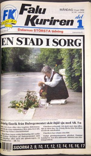 Falu Kurirens förstasida på måndagen efter Mattias Flinks vansinnesdåd.