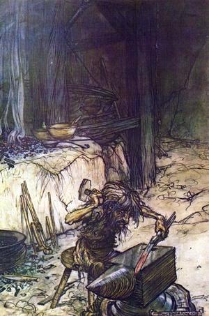 Britten Arthur Rackhams illustration av dvärgen Regin från 1911 kommer väldigt nära hur  dvärgarna uppfattades i den fornnordiska mytologin.