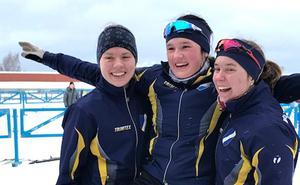 Erika Österman Lisa Melén-Olsson och Alva Sköld fick alla kliva upp på pallen i Swecupen. Foto: Privat/Joakim Sköld