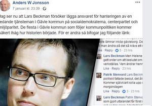 Skärmdump från Anders W Jonssons Facebooksida.