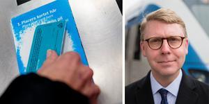 Montage. Foto: TT, Roger Stigell.  Kristoffer Tamsons, M, föreslår  en höjning av priset på SL-kortet.