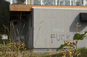 Skolan kan komma att byta ut några av de vandaliserade väggskivorna, som sitter på en av byggnaderna.