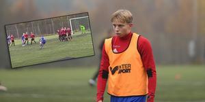 Isac Einarsson gjorde två mål för BKV Norrtälje mot Roslagsbro i höstkvalet.