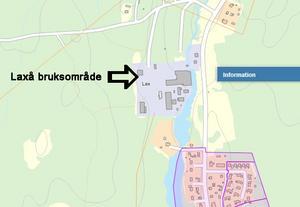 Skissen visar att området vid Laxå bruk omfattas inte av detaljplan. Röfors, strax söder om bruksområdet, är däremot markerat med rosa färg, vilket betyder att området är detaljplanelagt.  Källa: Laxå kommun